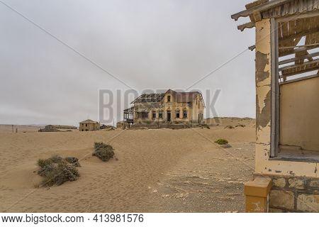 Namib Desert, Namibia - January 08.2021: The Buchhalter House At German Kolmanskop - Kolmannskuppe G