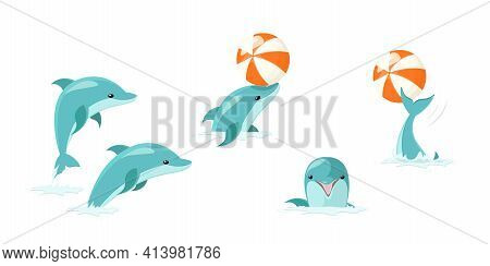 Cartoon Characters Funny Dolphin Set. Cute Blue Dolphins Set, Dolphin Jumping And Performings Tricks
