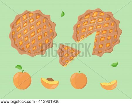 Hand Drawn Decorative Vector Illustration Of Peach Pie And Peaches. Traditional Peach Pie Dessert Wi