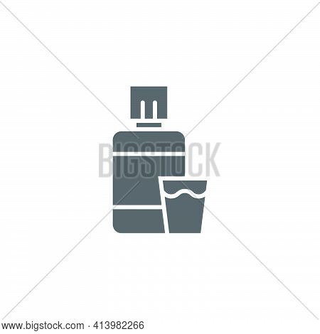 Mouthwash Plastic Bottle And Glass Icon Isolated On White Background. Liquid For Rinsing Mouth. Oral