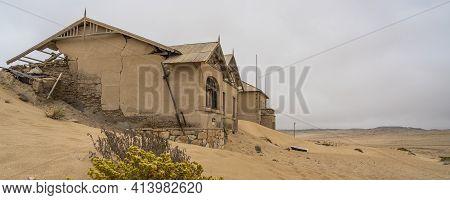 Namib Desert, Namibia - January 8.2021: The Lehrer House At German Kolmanskop - Kolmannskuppe Ghost