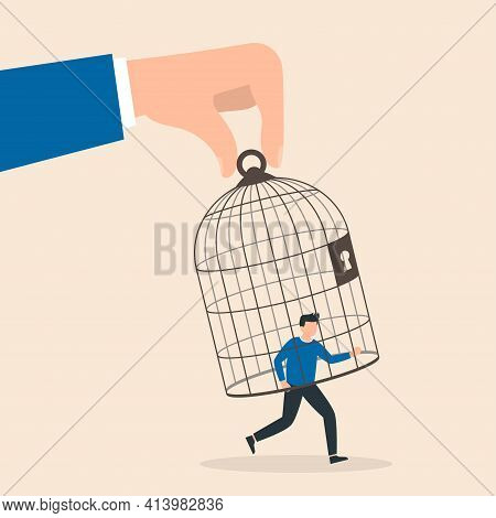 Trap Concept. Giant Hand Capturing A Running Businessman With Birdcage. Man In Captivity, Dependence