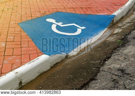 Accessibility Ramp For Wheelchair Users With Accessibility Symbol Design