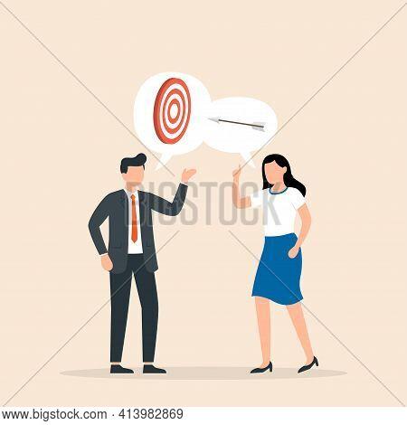 Businessman And Woman Talk About The Business Goals. Business Team Goal Achievement. Shared Goals, T