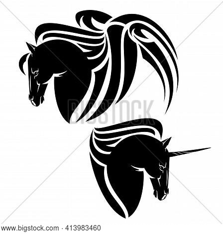 Pegasus Winged Horse And Magical Unicron Head - Mythical Animals Black And White Vector Design Set