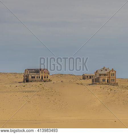 Kolmanskop. Namibia  - January 8.2021: View Over The German Kolmanskop Ghost Town In Namibia With Th