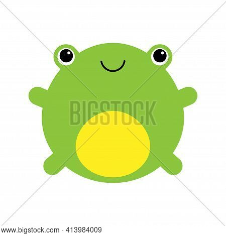 Cute Frog Smiling. Kawaii Style Frog Drawing. Baby Frog Looking Curious. Funny Minimalistic Cartoon