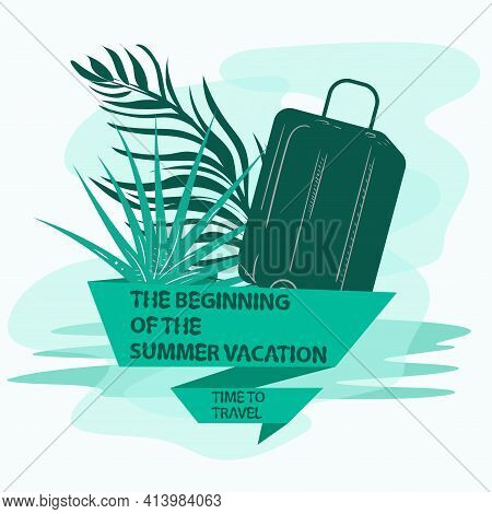 The Icon Is A Sticker For Making A Design On The Theme Of Vacation Vacation And Travel, A Suitcase F
