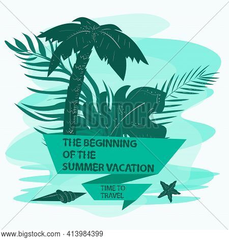 Icon Sticker For Decoration Design On The Theme Of Vacation Vacation And Travel, Palm Leaves Sea She