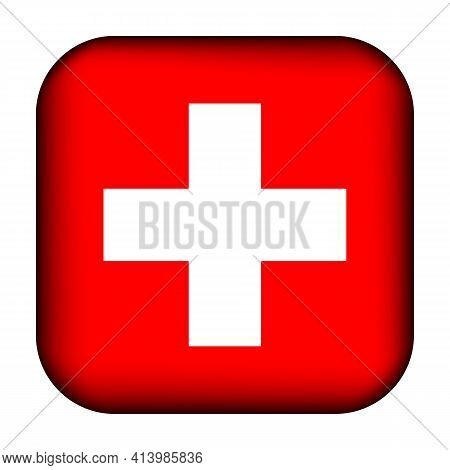 Glass Light Ball With Flag Of Switzerland. Squared Template Icon. Swiss National Symbol. Glossy Real