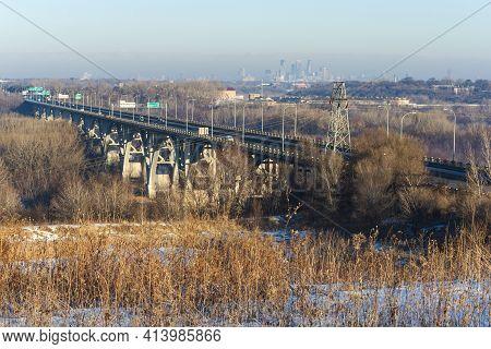 Mendota Bridge Spanning River Valley From Pilot Knob Preservation Site In Mendota Heights Minnesota