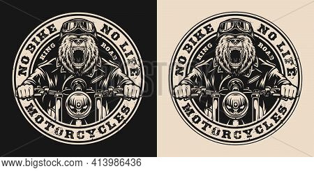 Bear Biker Vintage Round Badge With Angry Grizzly Motorcyclist Riding Motorbike In Monochrome Style