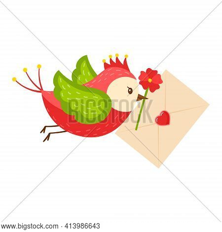 A Bright Cartoon Bird Carries A Letter Heart And A Red Flower In Its Beak. The Concept Of Pleasant N