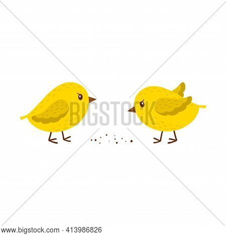 Two Chickens Peck At The Grain. Simple Yellow Little Birds. A Symbol Of Spring, Easter, And Farming.