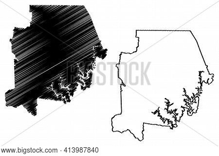 Campbell County, State Of Tennessee (u.s. County, United States Of America, Usa, U.s., Us) Map Vecto