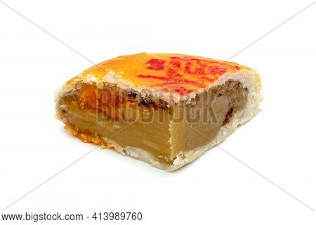 Bean Cake With Salted Egg Yolk Or Mooncakes Or Chinese Pastries Isolated On White Background