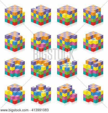 Cube With Missing Cubes From 1 To 16. Three-dimensional Spatial Perception Exercise. Colorful Game T