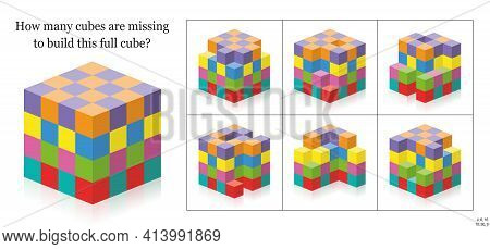 How Many Cubes Are Missing To Build A Full Cube? 3d Spatial Perception Exercise. Colorful Game To Co
