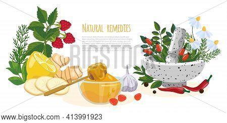 Natural Remedies Or Folk Medicine Banner. Raspberry, Gingrer, Honey, Garlic, Pepper, Chili, Chamomil