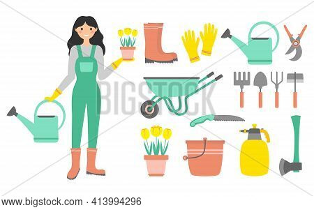 Cartoon Gardening Set, Vector Flat Illustration Of Garden Tool And Woman Gardener Isolated On White
