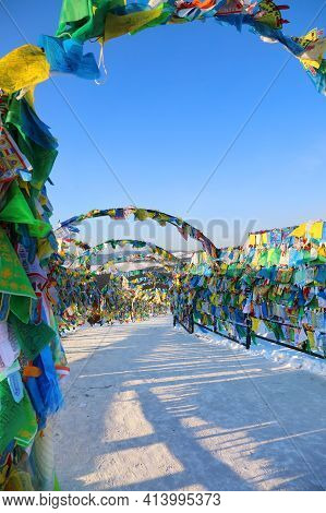 Alley Of Colorful Prayer Flags Wind Horse In Ulan-ude In The Republic Of Buryatia, Russia