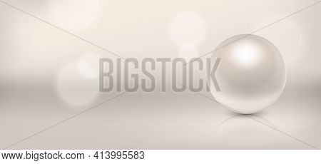 Vector 3d Realistic Beautiful Natural Pearl Closeup With Reflection On Blurred Muliticolor Backgroun