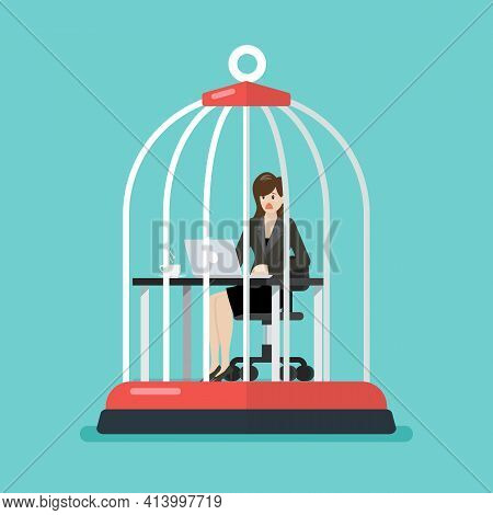 Business Woman Working At Desk Trapped Inside Birdcage. Stress At Work Concept. Vector Illustration