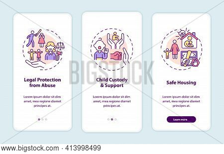 Domestic Violence Survivors Support Onboarding Mobile App Page Screen With Concepts. Abuse Walkthrou