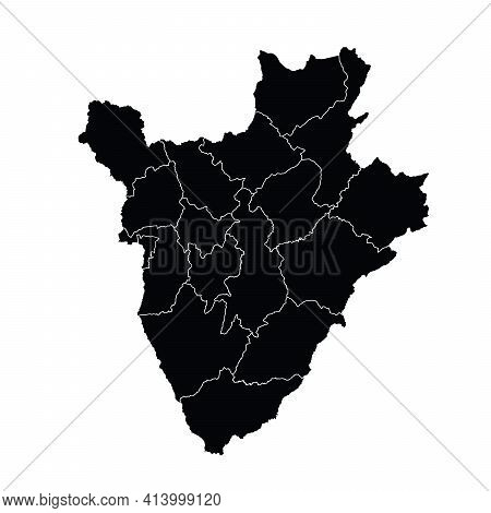 Burundi Country Map Vector With Regional Areas