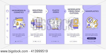 Microplastics Sources Onboarding Vector Template. Responsive Mobile Website With Icons. Web Page Wal