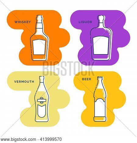 Bottle Whiskey Liquor Vermouth Beer Line Art In Flat Style. Restaurant Alcoholic Illustration For Ce