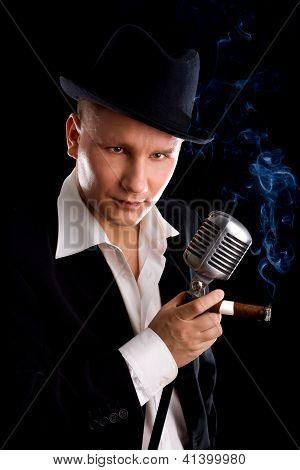 Jazzman And Retro Microphone