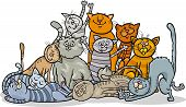Cartoon Illustration of Happy Cats or Kittens Group poster