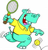 Cartoon illustration of a hippo playing tennis. poster