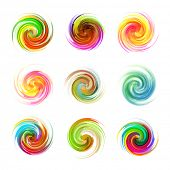 Colorful abstract icon set. Dynamic flow illustration. Swirl collection. poster