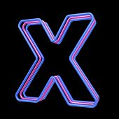 3D neon alphabet, letter X isolated on black background poster