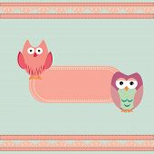 Vector cute wise owls background for scrapbook poster