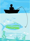 Fisherman catching the fish on the boat, vector illustration poster