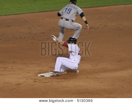 Red Sox Player Slding Into Base