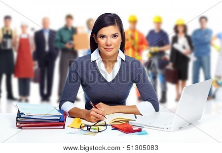 Accountant business woman working with laptop in office.