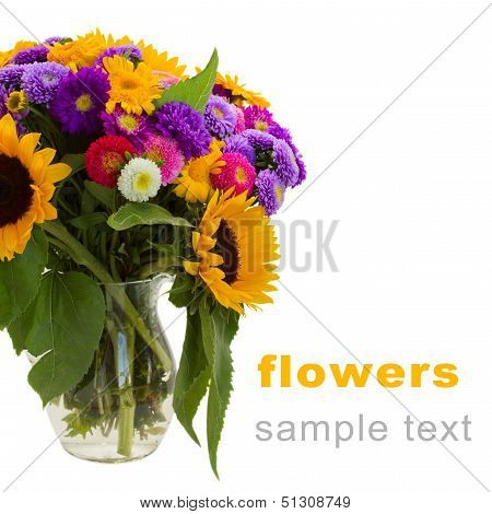 colorful posy  of fall flowers