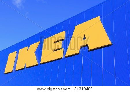 Sign Ikea On Store Wall With Blue Sky