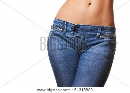 female wearing jeans