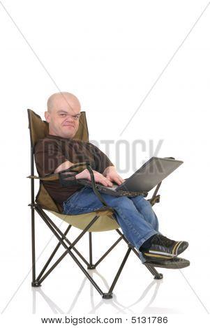Dwarf, Little Man On Laptop
