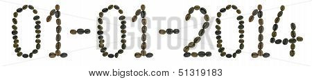 words 01-01-20014 made from coffee beans
