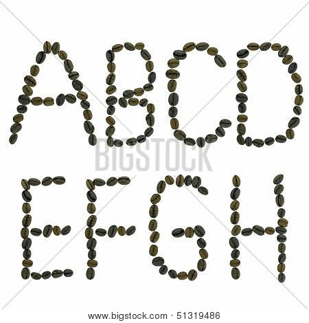 alphabets made from coffee beans