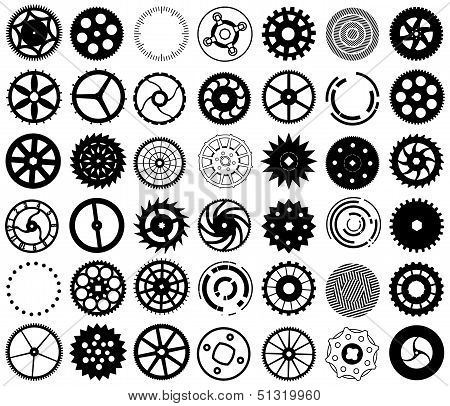 Vector Set Of Silhouettes Of Gears And Other Round Objects