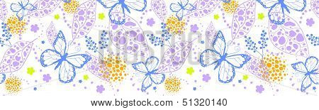 Vector butterfly garden horizontal seamless pattern background with hand drawn elements poster