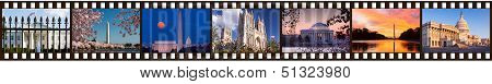 Film strip of 35mm format showing multiple Washington DC sights and monuments White House Congress Cherry Blossoms cathedral Jefferson and Lincoln Memorials poster