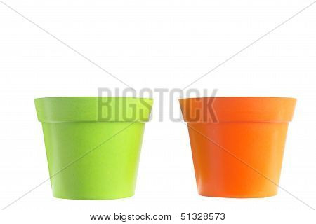 empty flower pot  green and orange